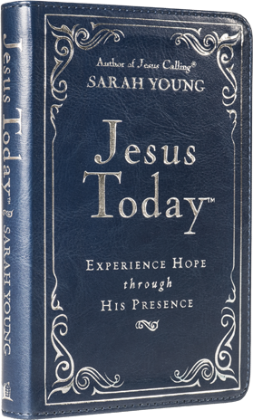 Book cover image of Jesus Today by Sarah Young deluxe edition blue