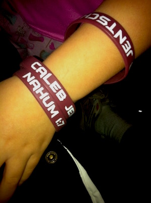 "Bracelets to remember Caleb, with his life verse - reminding people to say ""I trust you, Jesus'""."