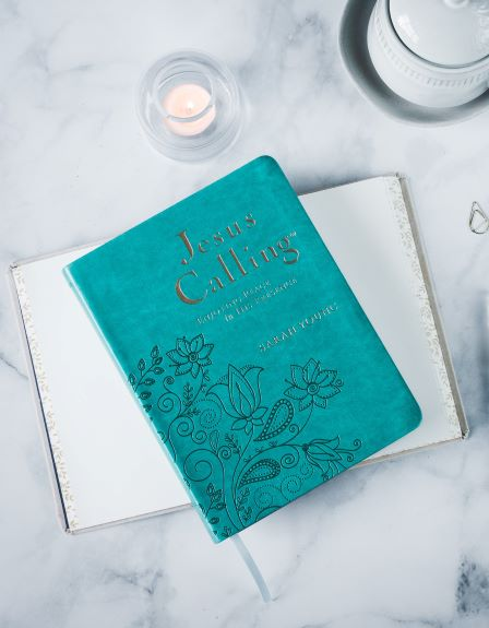 Jesus Calling large deluxe teal edition with candle and journal