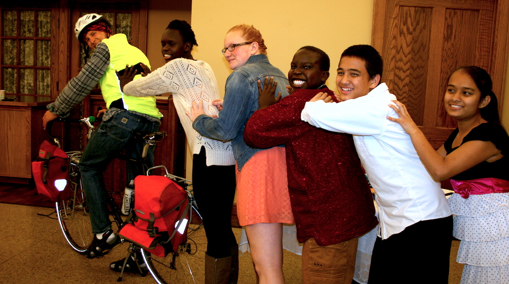 LCF kids send Paul off on his cross country cycle trip.