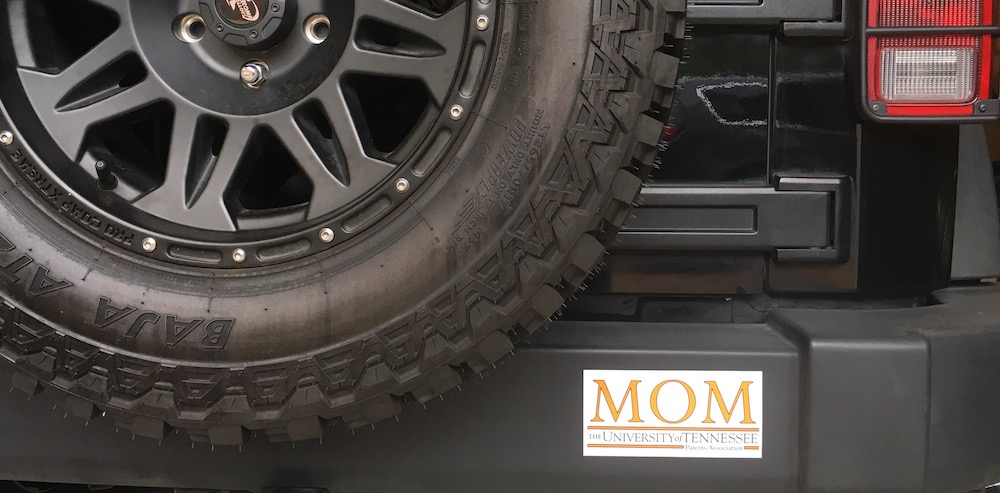 "Photo of Sherri Gragg's bumper sticker reading ""MOM University of Tennessee"""