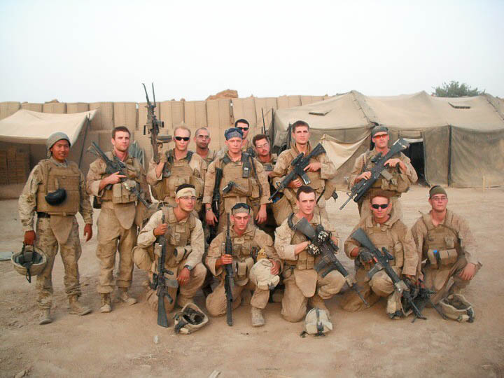 Zachary Bell with his infantry squad
