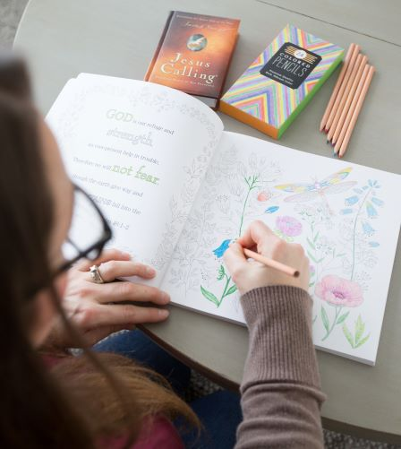 Jesus Calling coloring book with person coloring