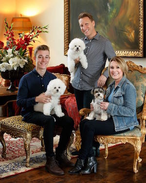 Shelia Walsh with her husband, son, and three dogs.