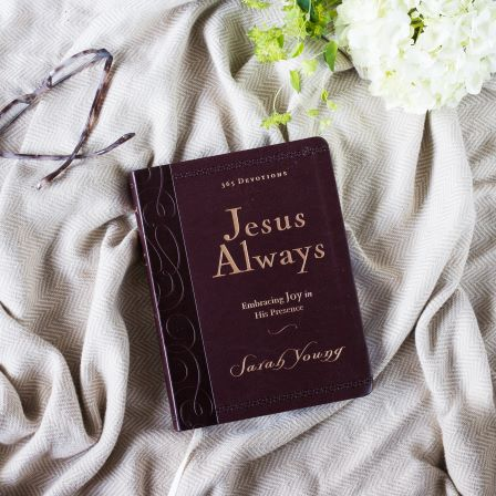 Jesus Always Large Deluxe book on blanket with glasses