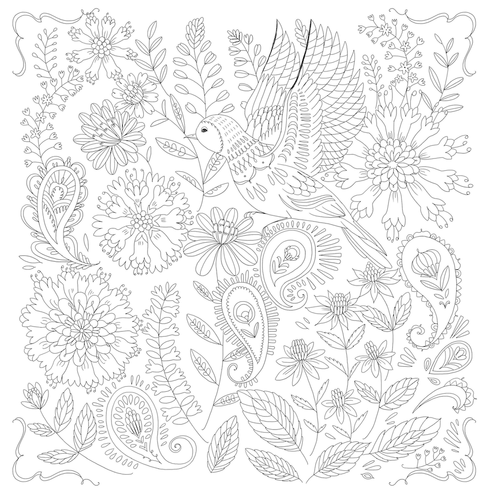 An illustration of a bird by Pimlada Phuapradit in the new Jesus Calling adult coloring book.