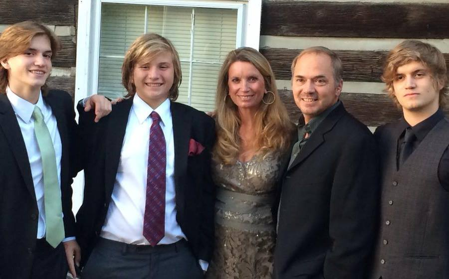 Becca Stevens with her family.