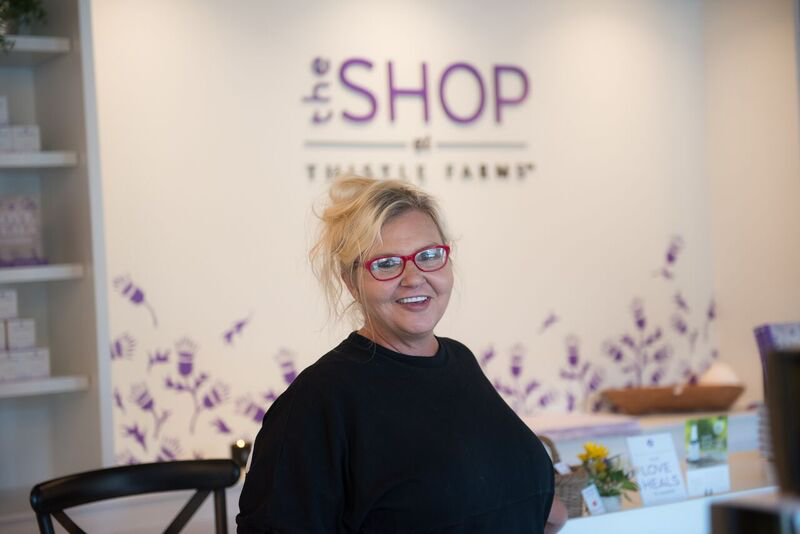 Jennifer Clinger at the Shop at Thistle Farms.