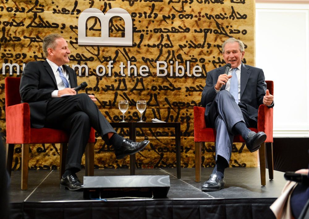 Steve Green and President George W. Bush at the Museum of the Bible.