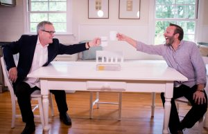 Mark Lowry and Andrew Greer on Dinner Conversations video podcast set