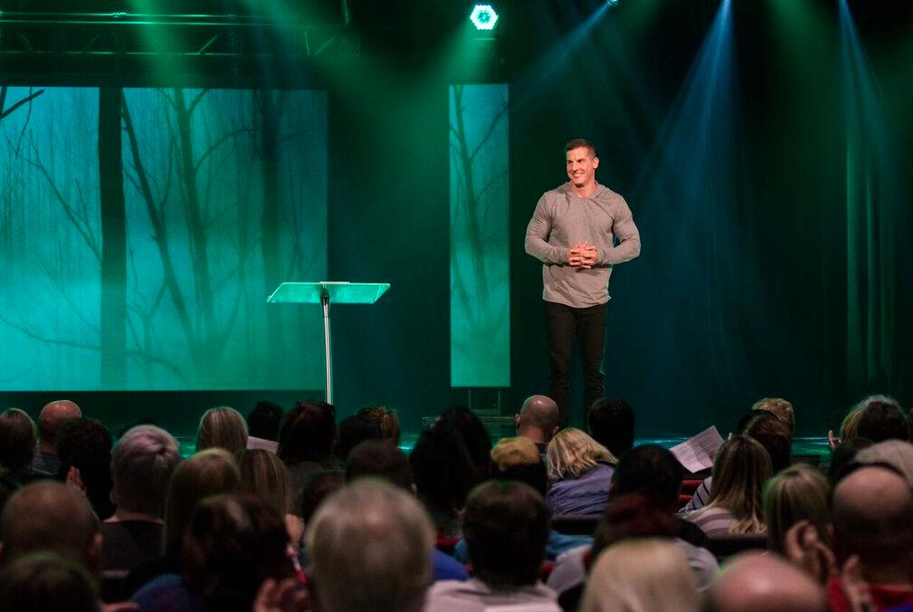 Craig Groeschel speaking before a congregation