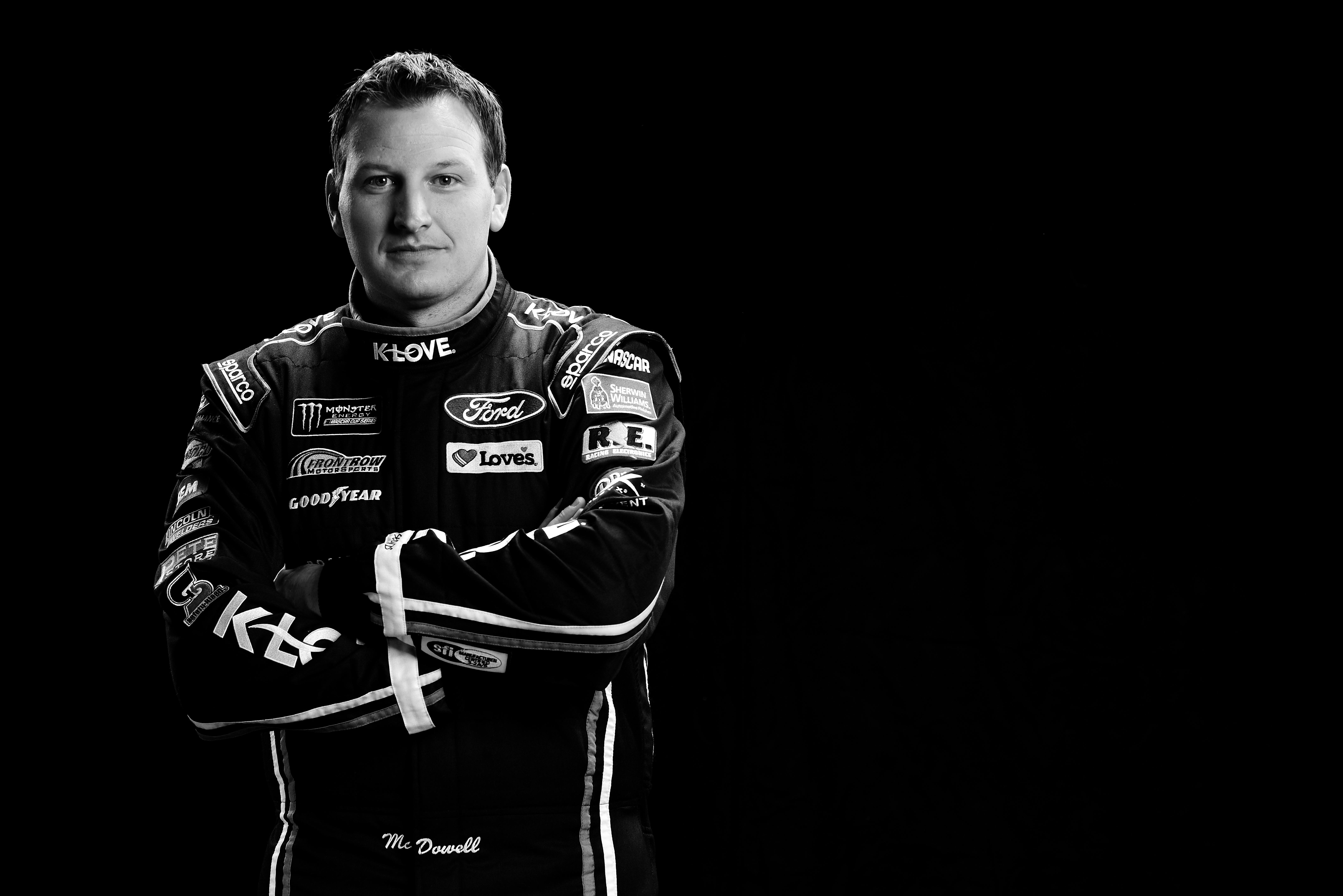 CHARLOTTE, NC - JANUARY 23: (EDITOR'S NOTE: This image has been converted to black and white.) Monster Energy NASCAR Cup Series driver Michael McDowell poses for a portrait during the NASCAR Media Tour at Charlotte Convention Center on January 23, 2018 in Charlotte, North Carolina. (Photo by Jared C. Tilton/Getty Images)
