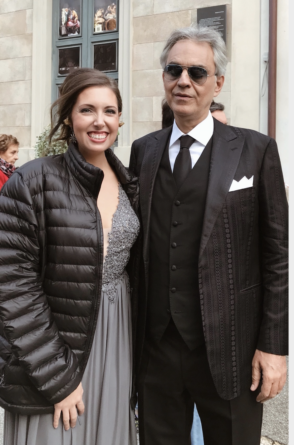 Francesca Battistelli as featured on Jesus Calling podcast; also imaged is Andre Bocelli