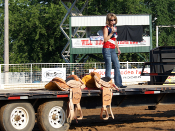 Susie McEntire Eaton singing at the rodeo