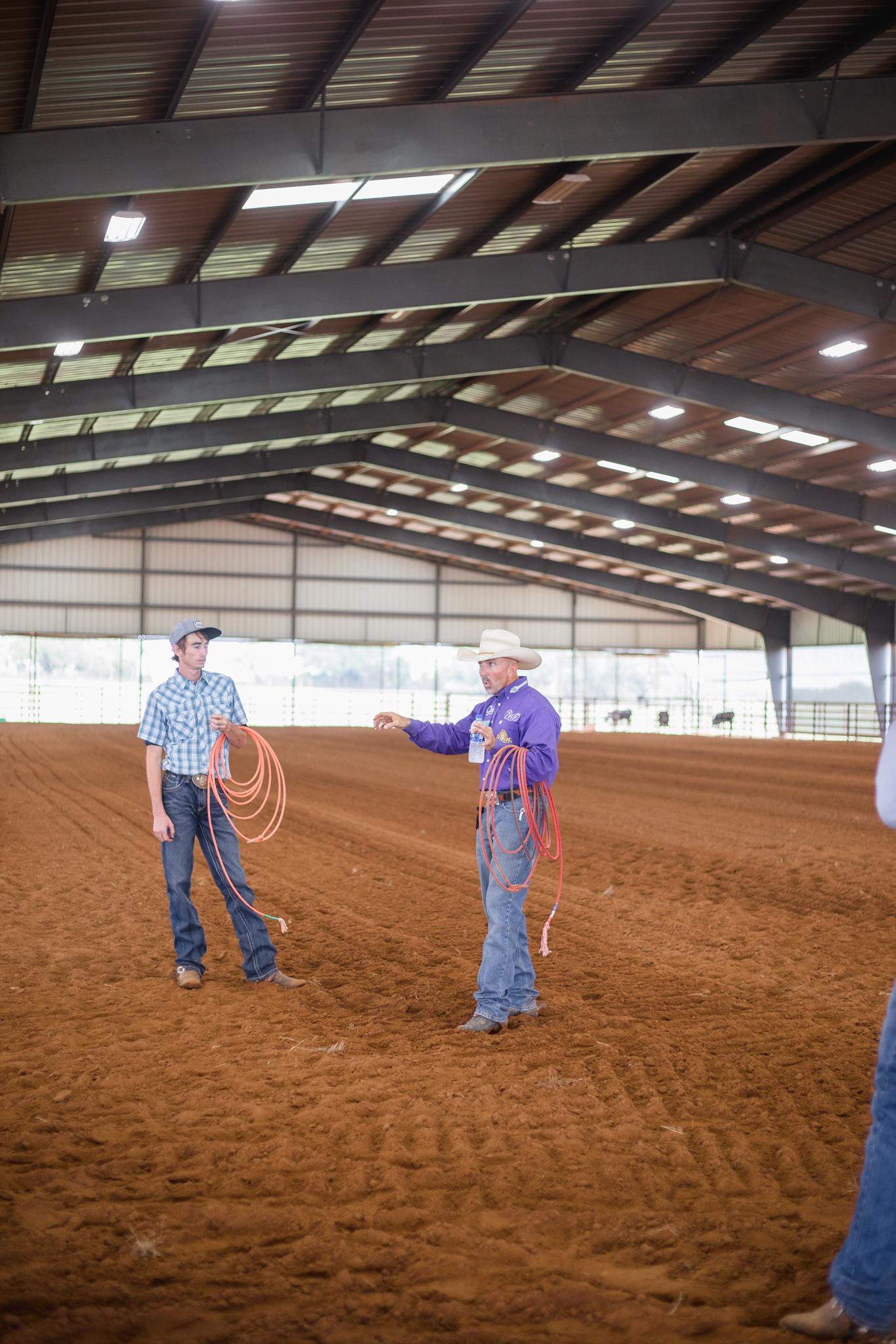 Trey Johnson teaching roping