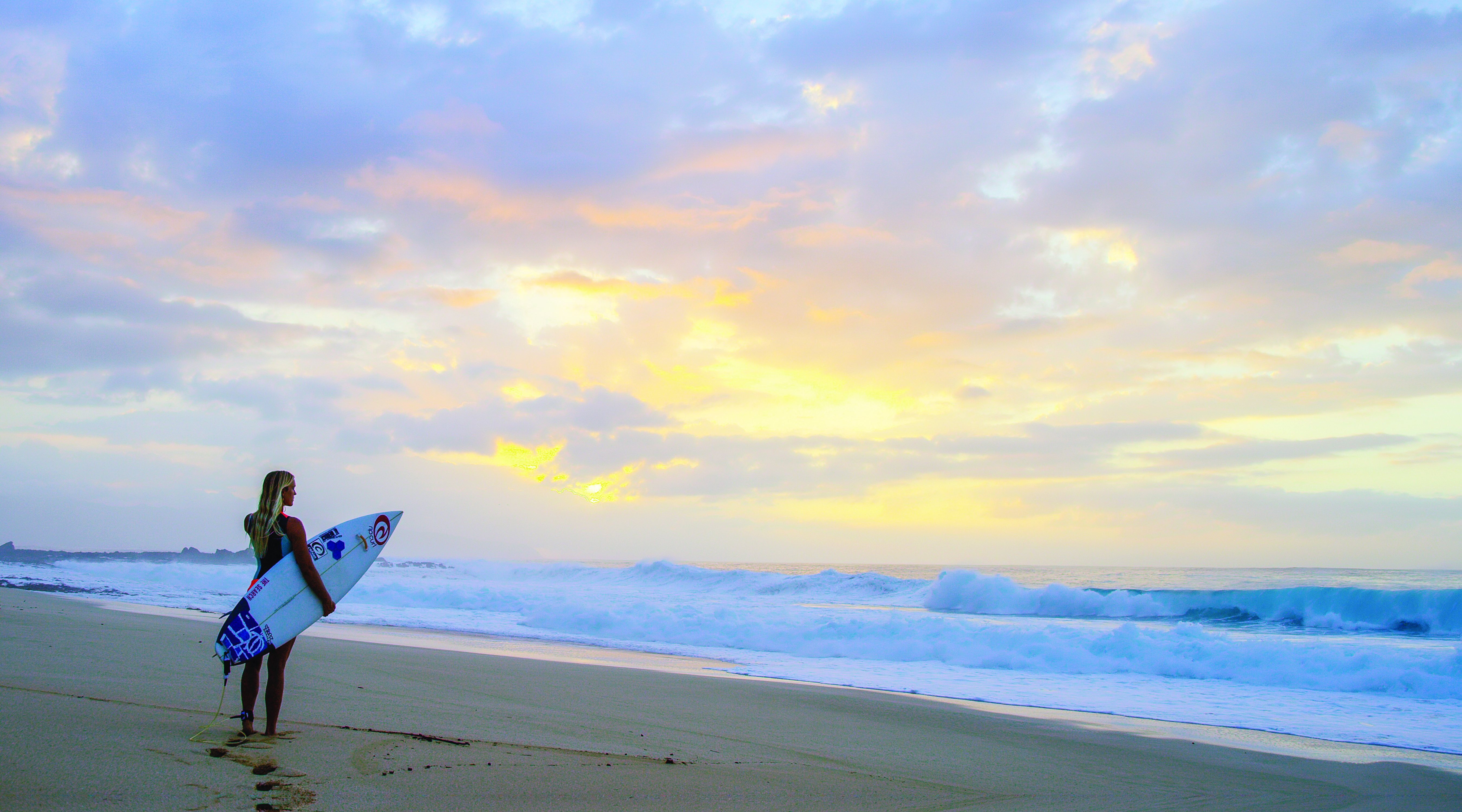 Pro surfer, Bethany Hamilton monitors the waves