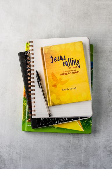 Jesus CAlling Tean 50 devotions for a thankful heart lifestyle pic with books and pen