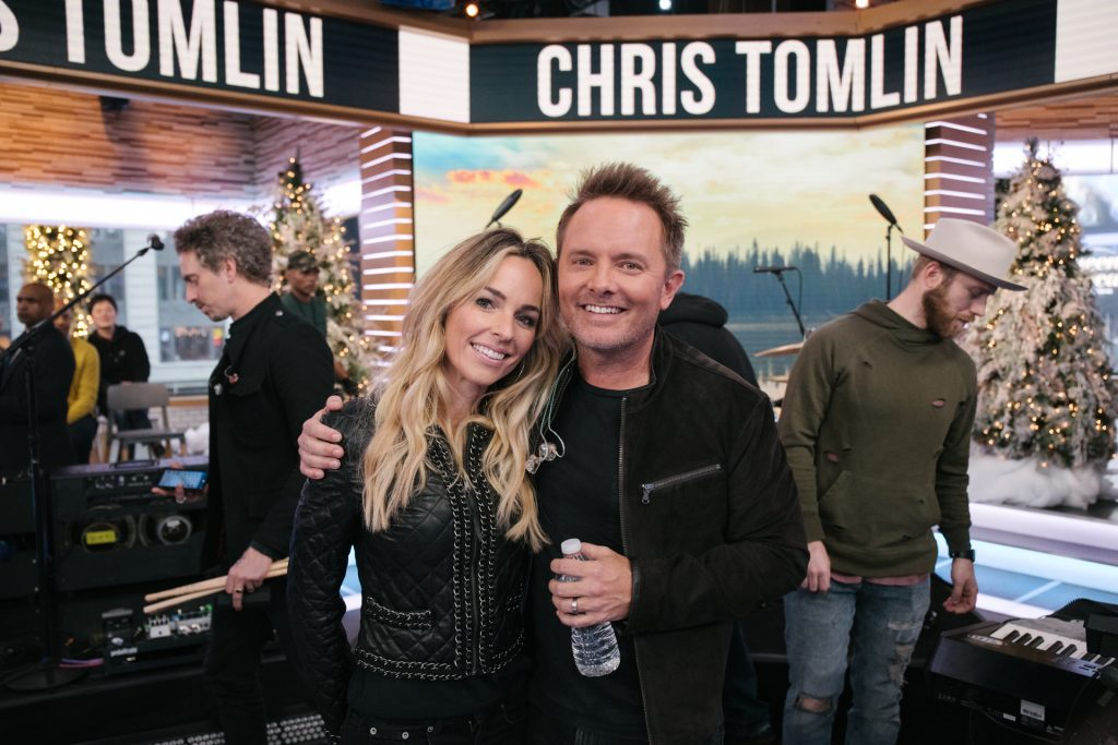 Chris Tomlin and his wife at Good Morning America