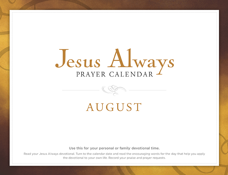 Jesus Always August Prayer Calendar
