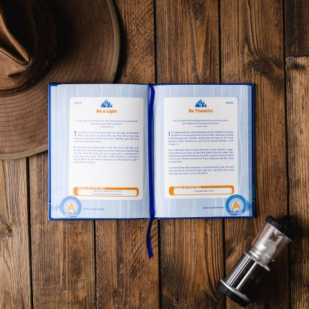 Jesus Calling for kids blue book interior shot of pages on table