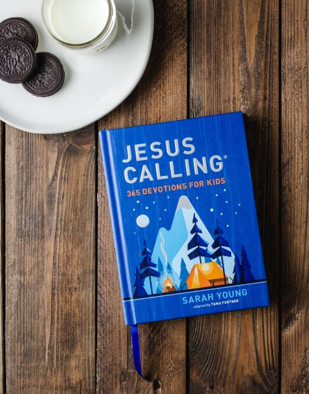 Jesus Calling 365 devotions for kids blue edition with cookies and milk