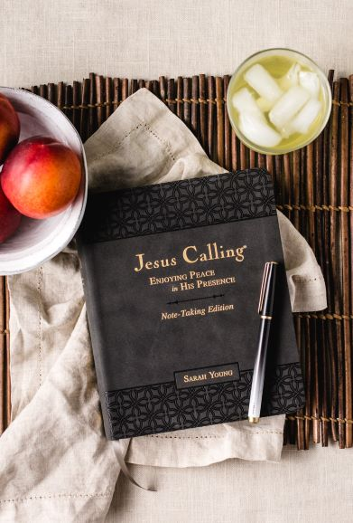 Jesus Calling notetaking edition on mat with fruit