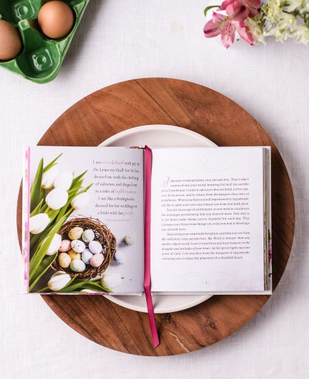 Jesus Calling for Easter interior page with eggs and flowers