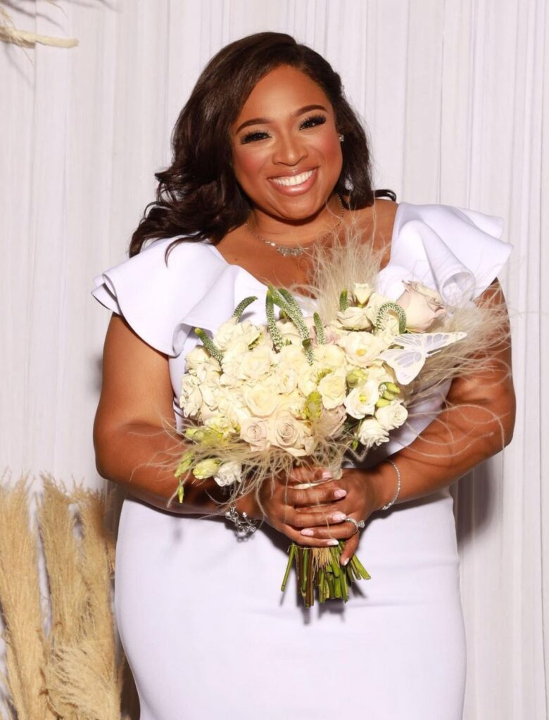 Jesus Calling podcast #247 featuring musical artist, Kierra Sheard Kelly (wedding day image)